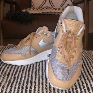NIKE Tan with Silver Air Max 1 Sneakers
